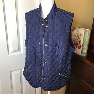 Peck & Peck Quilted Blue Vest XL NWT